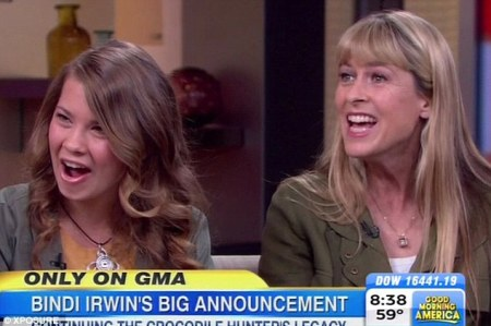 Happy family: The family of the late Crocodile Hunter Steve Irwin appeared on Good Morning America today to announce their support for SeaWorld in the US. Bindi (left) has received a backlash from the public as a result./Photo credit: Dailymail.com.uk