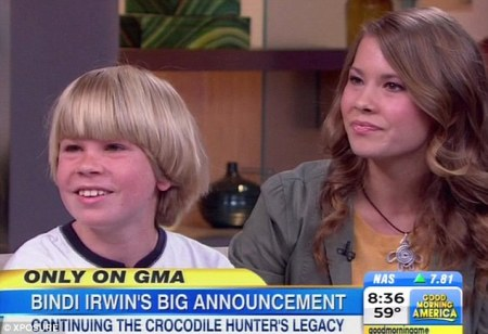 Bindi Irwin (right) and her little brother Robert appeared oblivious to SeaWorld's negative image after announcing they would partner with the company on Good Morning America today./Photo credit: Dailymail.com