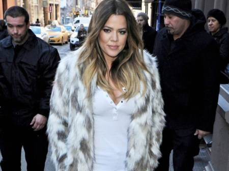 Anti-fur activist Khloe Kardashian stepped out in a floor-length faux fur coat last month in New York City./Photo credit: ecouterre.com
