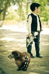 Boy Han Solo and Chewbacca dog