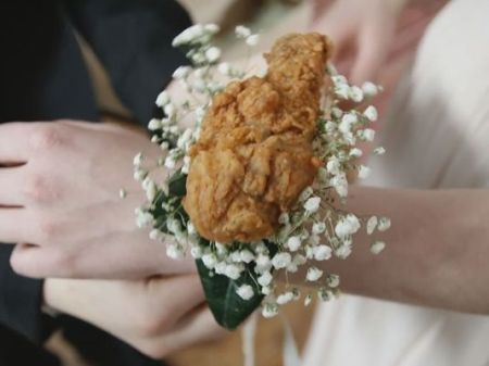 KFC is selling drumstick corsages to prom-goers. The fast food chicken chain is offering a limited amount of chicken and baby's breath corsages for love-struck teens to wear and nosh on at one of high school's biggest nights./Photo credit: 9news.com