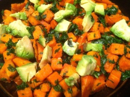 "Sauteed sweet potatoes and organic kale topped with avocado are the ideal ingredients for a delicious, ""clean"" meal, according to EWG's ""Clean Fifteen.""/Photo credit: Lisa Singer"