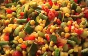 This vegetable and edamame succotash is a delicious and nutritious side dish or served alone for a lite springtime meal./Photo credit: Lisa Singer