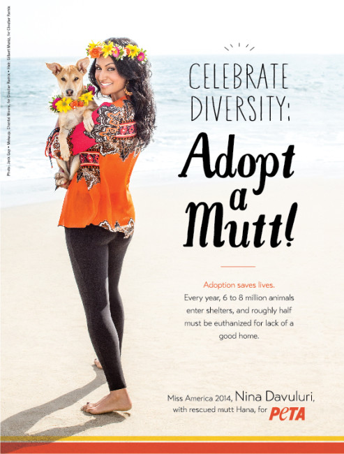 PETA, pet adoption, Nina Davuluri, Miss America