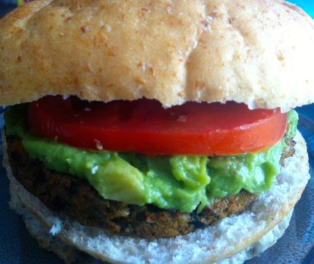 Organic Sunshine's zesty Black Bean South West burgers are a good source of fiber and protein./Photo credit: Lisa Singer