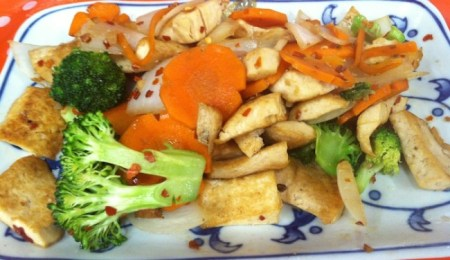 House Foods' Extra Firm Organic Tofu sautéed with vegetables and soy sauce is a quick and healthy meat-free meal./Photo credit: Lisa Singer