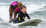 Ricochet helped his friend, West Butner, to overcome his fear of the ocean. Photo credit: BarkPost
