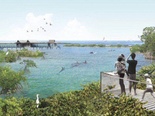 An artistic rendering of the seaside dolphin sanctuary proposed by the National Aquarium in Baltimore. The aquarium is scouting locations in Florida and the Caribbean. Photo Credit: