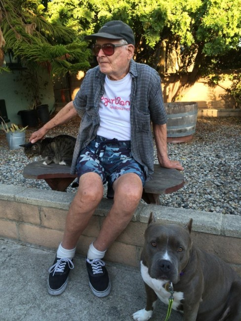 Lulu is kind. Here she with Omar visiting with Jan, our 95 year-old neighbor!