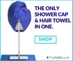 Best shower cap and best microfiber hair towel combo Turbella 2-in-1 hair turban twist