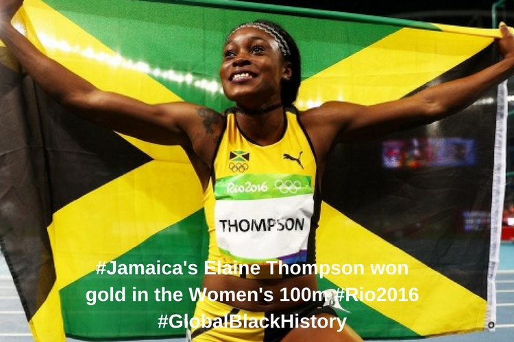 _#_Jamaica_'s Elaine Thompson won gold in the Women's 100m _#_Rio2016_#GlobalBlackHistory