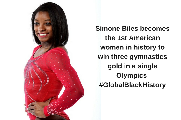 Simone Biles becomes the 1st American women in history to win three gymnastics gold in a single Olympics _#_GlobalBlackHistory_