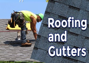 roof shingles and gutter