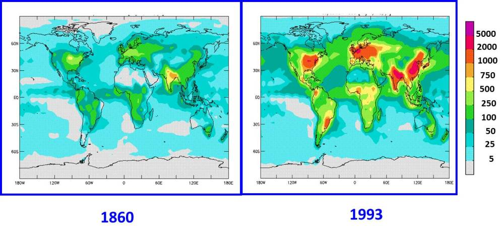 medium resolution of nitrogen deposition worldwide has increased during the industrial period since 1860 values in mg n m2 year from galloway et al 2002