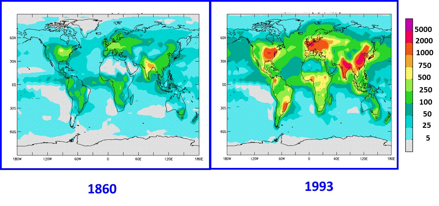 hight resolution of nitrogen deposition worldwide has increased during the industrial period since 1860 values in mg n m2 year from galloway et al 2002