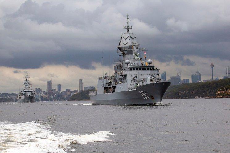 HMAS Arunta, followed by HMAS Stuart