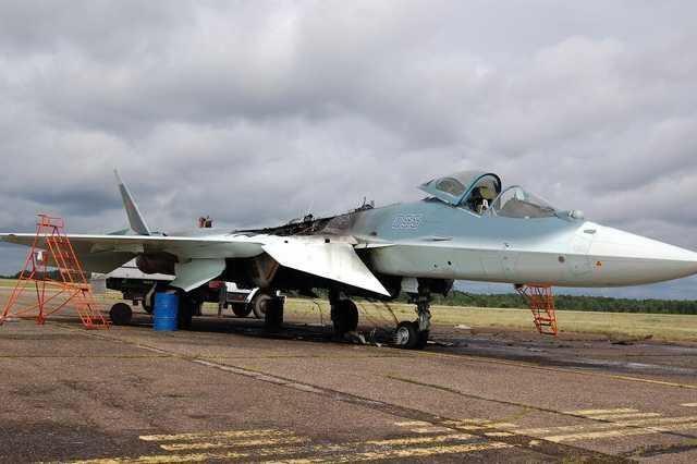 Su-57 on fire