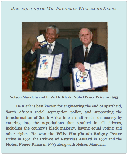 REFLECTIONS OF MR. FREDERIK WILLEM DE KLERK, Global Education Magazine