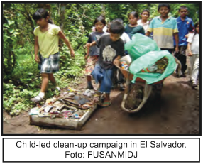 child clean up, Salvador, Global Education Magazine