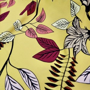 floral garden print on mustard or yellow printed fabric