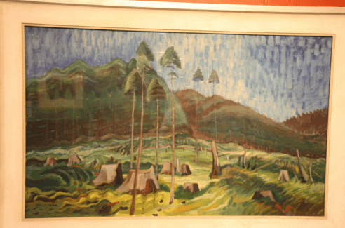 A painting displaying clear cutting of the forest