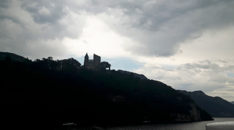 A small castle on a hill