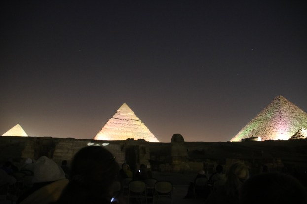 The pyramids lit up.