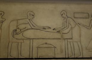 Preparing the mummy.