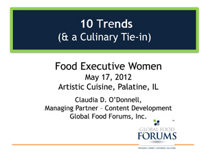 Cover slide for May 2012 presentation on food trends
