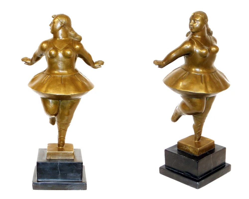 Botero after Ballerina bronze golden patinated - FERNANDO BOTERO - Ballerina
