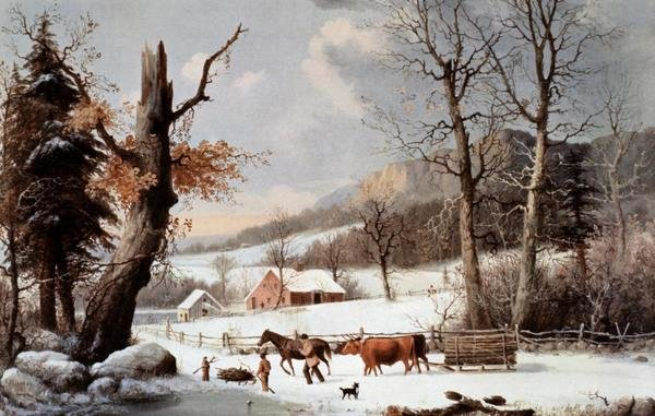 Wallpaper Scenes Of Fall Currier And Ives Winter In The Country Homeward From