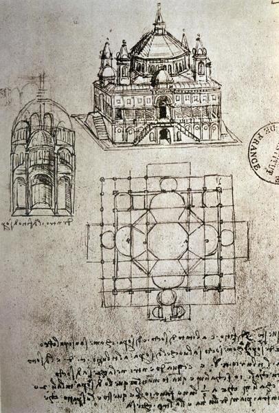 Leonardo Da Vinci  Sketch of a Square Church with Central Dome and Minaret  Art Print  Global