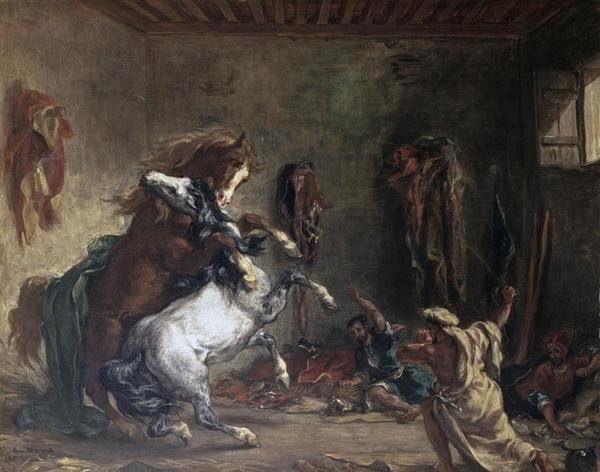 Eugene Delacroix  Arabian Horses Fighting In a Stable
