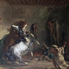 Southwest Kitchen Hansgrohe Faucets Eugene Delacroix - Arabian Horses Fighting In A Stable ...