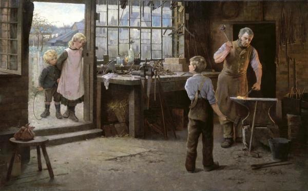 Hamlet Bannerman  His First Day at Work Child Apprentice with Blacksmith  Art Print  Global