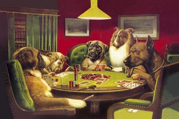 CM Coolidge Poker Dogs A Bold Bluff 1903 Art Print