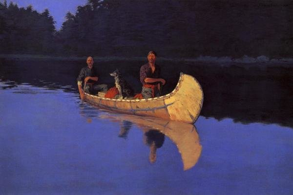 Frederic Remington  Evening On A Canadian Lake  Art Print  Global Gallery