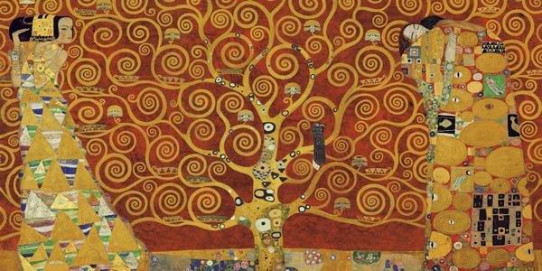 Gustav Klimt Tree Of Life Red Variation Art Print