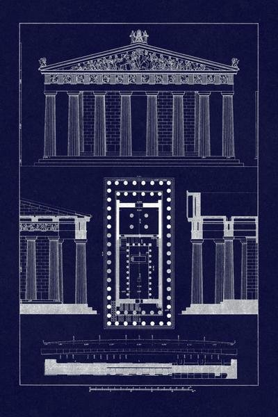 J Buhlmann  The Parthenon at Athens Blueprint  Art Print  Global Gallery