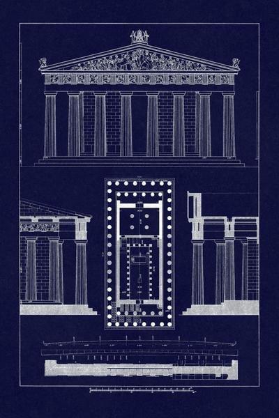 J Buhlmann The Parthenon At Athens Blueprint Art