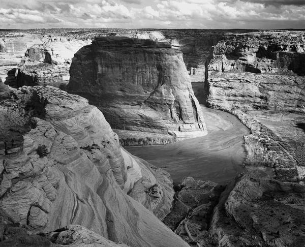 Ansel Adams  View of valley from mountain Canyon de