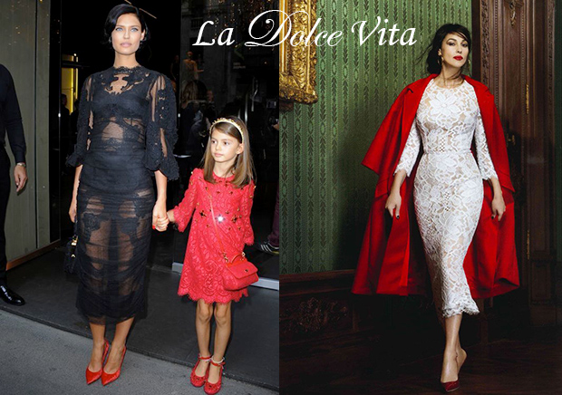 model Bianca Balti and film actress Monica Bellucci in Dolce and Gabbana