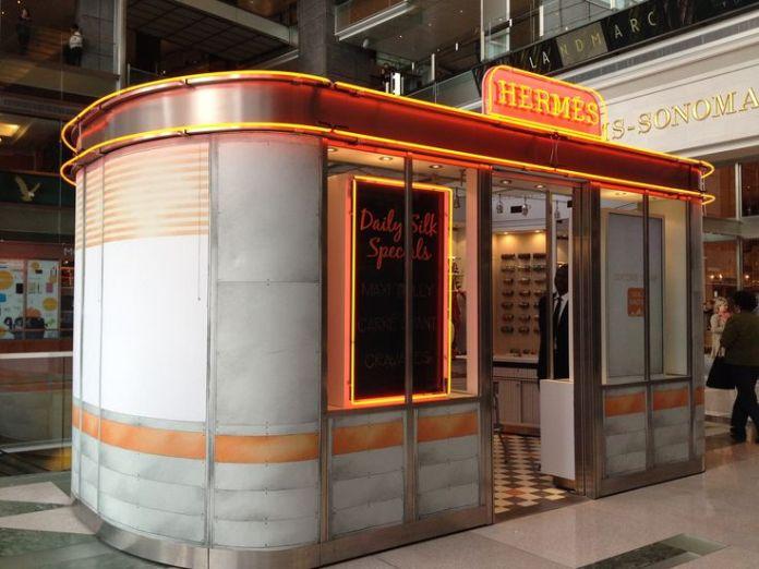 Hermes Diner Pop Up Tie Bar Time Warner Center Mall, NYC