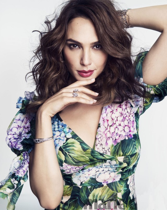Gal Gadot in The Dolce Gabbana Ortensia Collection in This month's Marie Claire