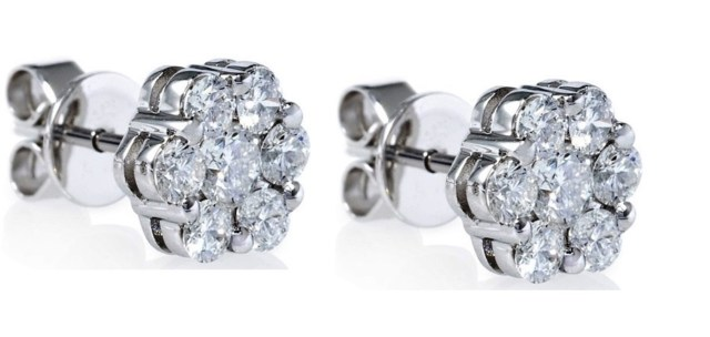 Tulcy Genuine Natural 0.20 Cttw Diamond Cluster Stud Earring In Sterling Silver
