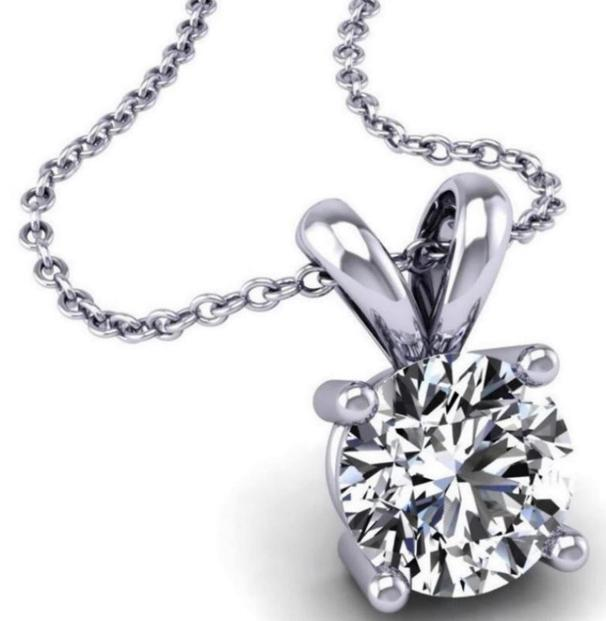 Genuine 1/2 Ctw Solitaire Diamond (G,H,I1,I2)Necklace in 14k White Gold
