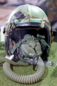 The fighter helmet Palmer wore when he took a ride with the U.S. military.