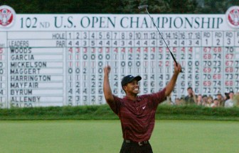 2002 U.S. Open – Woods, a winner at 3-under par, became the first golfer in 30 years (Jack Nicklaus, 1972) to win the first half of the Grand Slam. The 2002 U.S. Open was played at Bethpage Black, site of this year's PGA Championship. (Photo: Robert Galbraith, Reuters)