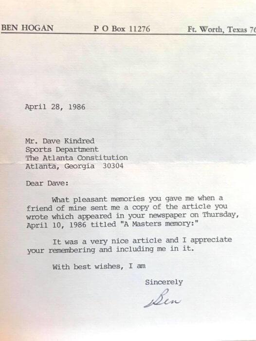 Ben Hogan letter