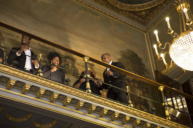 Members of the London Gospel Choir, performing for guests as they arrive to Welcome